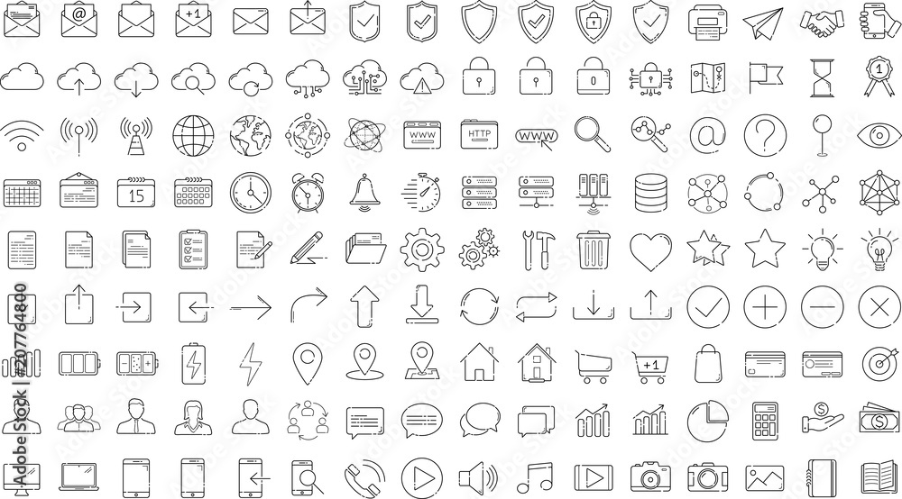 Fototapety, obrazy: Black business thin line icons set on white background