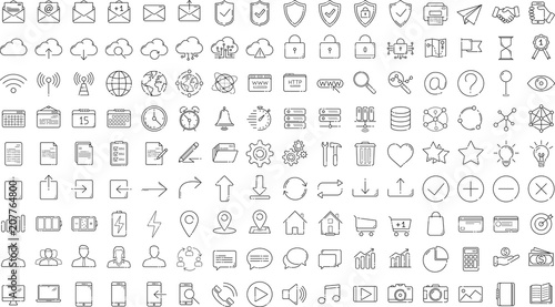 Black business thin line icons set on white background Fototapeta