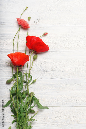 Red poppy flowers over white rustic wooden surface.