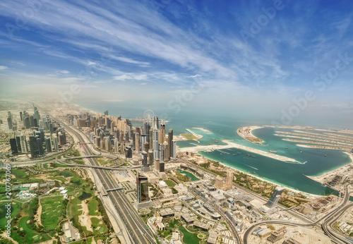 Fototapeta Widok z lotu ptaka Dubaj Marina śródmieście