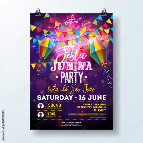 Obraz Festa Junina Party Flyer Illustration with Flags and Paper Lantern on Firework Background. Vector Brazil June Festival Design for Invitation or Holiday Celebration Poster. - fototapety do salonu
