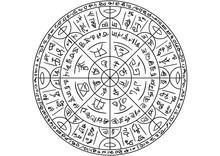 Magic Circle With Mystic Symbols/ Illustration Fantasy Circle Sign With Spells