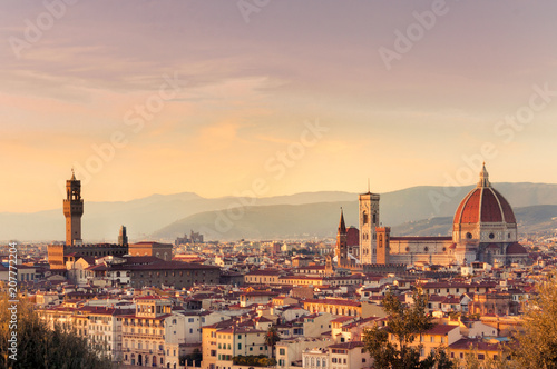 Sunset over the city of Florence, Italy. panoramic view.