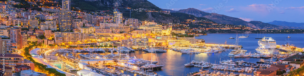 Fototapety, obrazy: Monaco Panoramic View at Dusk