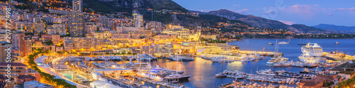 fototapeta na drzwi i meble Monaco Panoramic View at Dusk