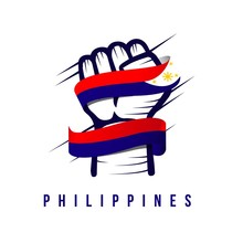 Hand And Flag Philippines Vector Template Design Illustration