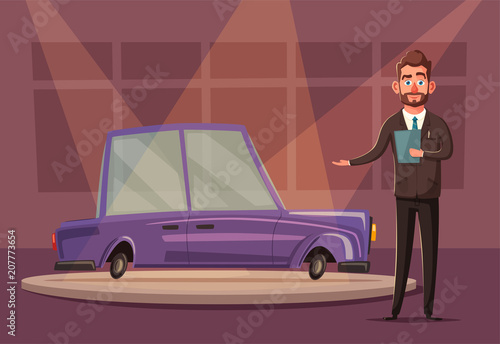 Staande foto Cartoon cars Sale of a new car. The seller at the car showroom shows the vehicle. Vector cartoon illustration