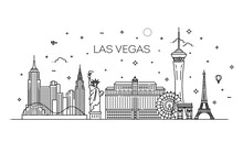 Las Vegas Skyline With Panorama In White Background