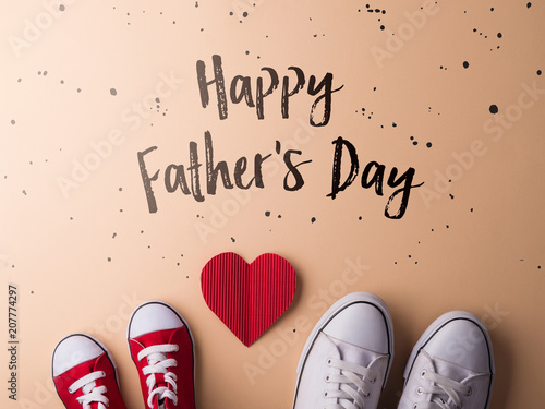 Fotografia  Fathers day greeting card concept. Flat lay.
