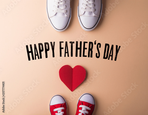 Fotografie, Obraz  Fathers day greeting card concept. Flat lay.