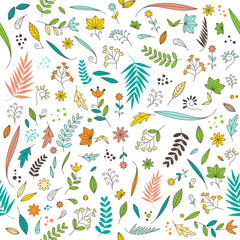 Cute floral flower nature pattern design seamless on white background vector illustration