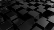 Abstract cubes. Black background. 3d render.