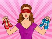 Blindfolded Girl Pop Art Vecto...