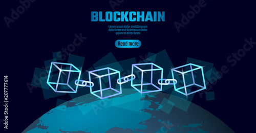 Blockchain Cube Chain Symbol On Square Code Data Flow Information Blue Neon Glowing Planet