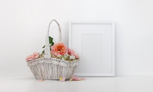 Blank Picture Frame Mockup With A Basket Of Roses