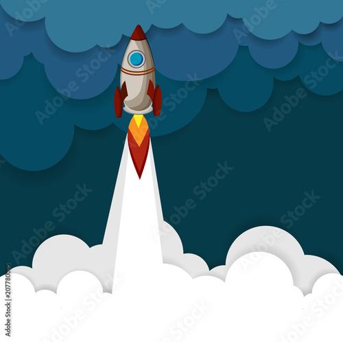 Niebieskie tło z kolorowych rakiet.