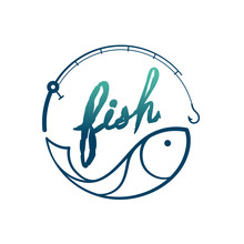 Fish In Fishing Rod Frame Circ...