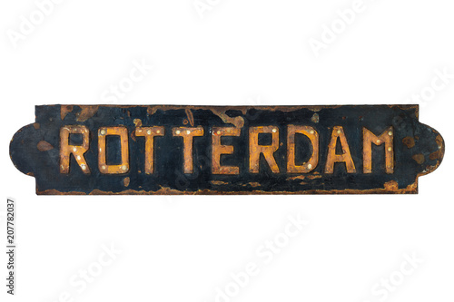 Fotobehang Rotterdam Old rusted ship plate of the Dutch city of Rotterdam