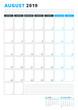 Calendar Template for August 2019. Business Planner Template. Stationery Design. Week starts on Monday. Portrait orientation. Vector Illustration