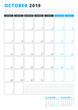 Calendar Template for October 2019. Business Planner Template. Stationery Design. Week starts on Monday. Portrait orientation. Vector Illustration