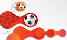 Abstract Orange Football Background With Soccer Balls.
