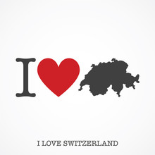 I Love Switzerland. Heart Shap...