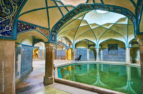 Carta da parati The tiled decors of Ganjali Khan Bathhouse, Kerman, Iran