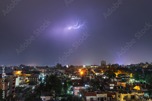 Night thunderstorm over Patan in the Kathmandu Valley, Nepal