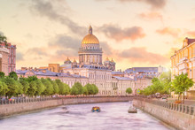 Saint Isaac Cathedral Across Moyka River In St. Petersburg