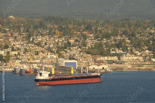 Oil Tankers at Vancouver Harbour with North Vancouver at the background, Vancouver, British Columbia, Canada Poster