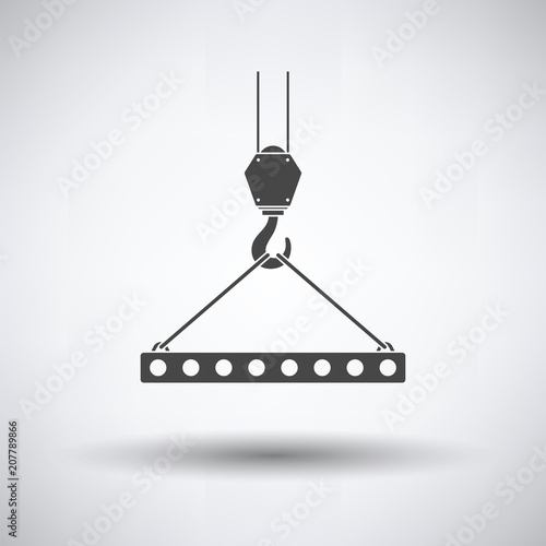 Fotografia Icon of slab hanged on crane hook by rope slings