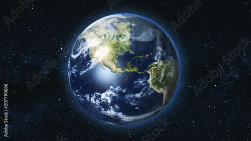 Photo  Realistic Earth Planet, rotating on its axis in space against the background of the star sky