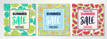 Summer Sale - Collection Of Colourful Posters With: Tropical Leaves, Watermelons And Citrus Fruits. Vector.