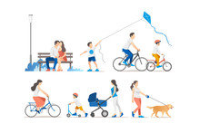 People Outdoor In The Park On Weekend. Vector Illustration.