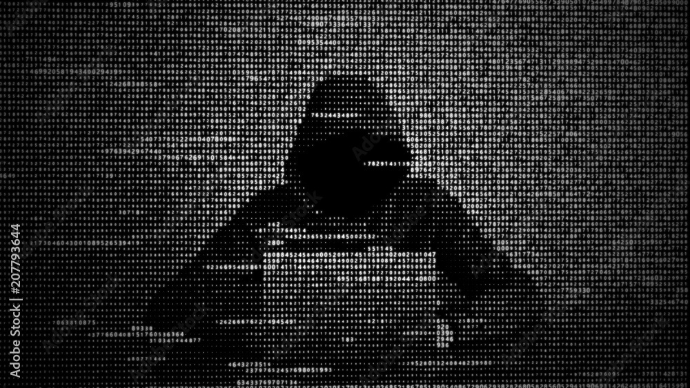 Fototapeta Hacker in data security concept. Hacker using laptop. Hacking the Internet. Cyber attack.