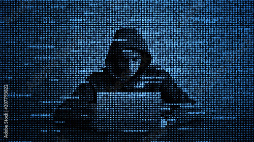 Foto Hacker in data security concept