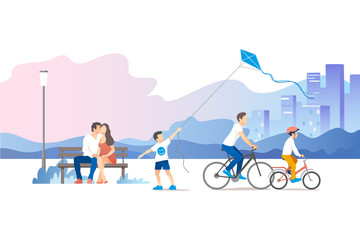 Fototapeta City park. Vector illustration.