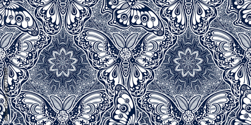 Montage in der Fensternische Künstlich Seamless pattern of butterflies or moths. Repetition background of fantasy style ornate insects