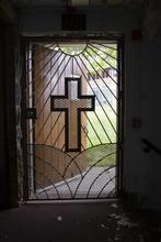Cross On Church Door Open To P...