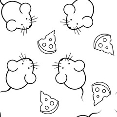 seamless pattern - mouse and cheese