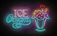 Vintage Glow Poster With Ice Cream  Ball In Vase And Inscription. Neon Lettering