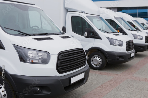 minibuses and vans outside Canvas Print