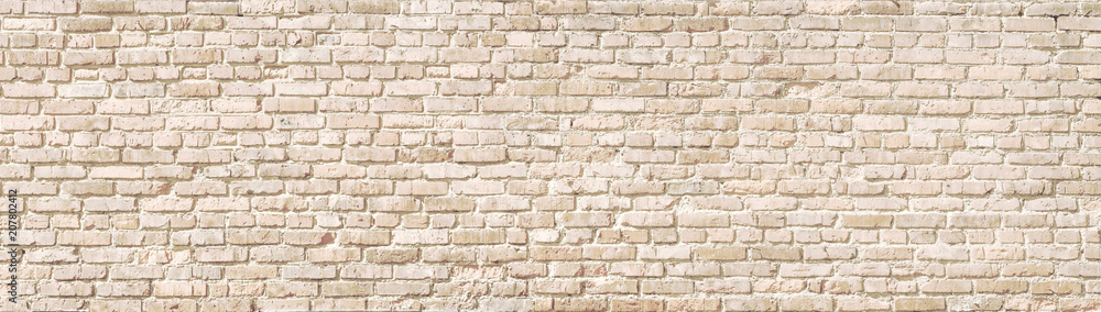 Fototapety, obrazy: Beige old brick wall panorama.