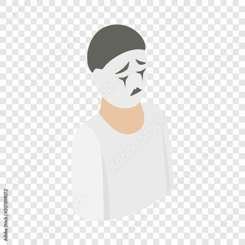 Fotografie, Obraz  Mime isometric icon 3d on a transparent background vector illustration
