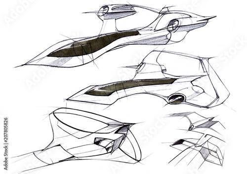Obraz Sketch concept supersonic aircraft business class intercontinental flights. - fototapety do salonu
