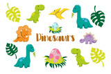 Fototapeta Dino - Dinosaur icons in flat style for designing dino party, children holiday, dinosaurus related materials