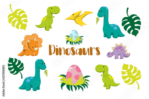 Dinosaur icons in flat style for designing dino party, children holiday, dinosau Canvas Print
