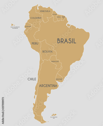 Political South American Map.Political South America Map Vector Illustration With Country Names