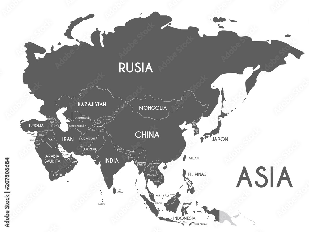 Fototapeta Political Asia Map vector illustration isolated on white background with country names in spanish. Editable and clearly labeled layers.