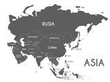 Ilustracja wektorowa Mapa Azji politycznej na białym tle z nazwami krajów w języku hiszpańskim. Edytowalne i wyraźnie oznaczone warstwy.